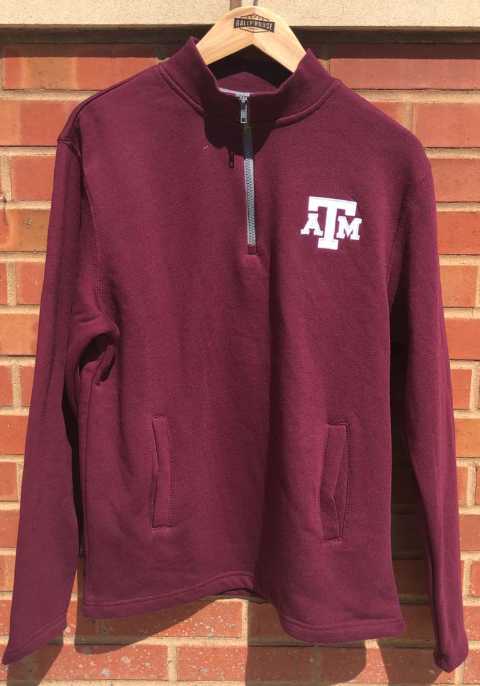 Colosseum Texas A&M Aggies Mens Maroon Comic Long Sleeve 1/4 Zip Pullover - Image 2