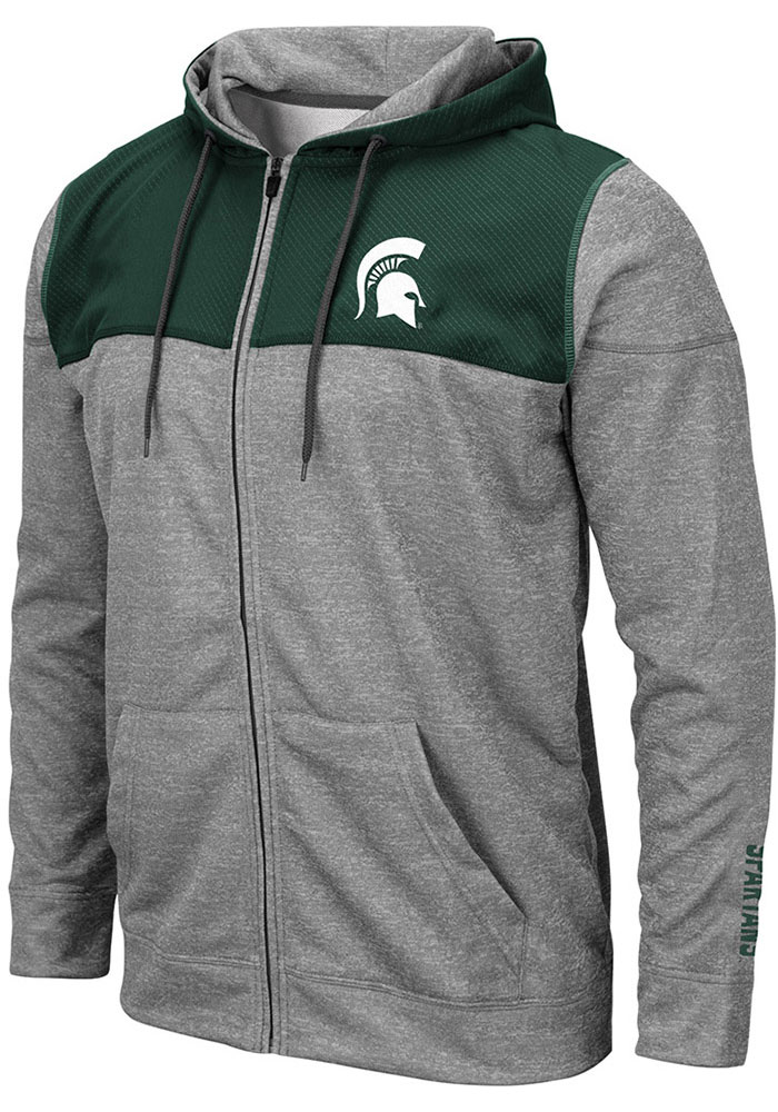 Colosseum Michigan State Spartans Mens Grey Nelson Long Sleeve Zip - Image 1