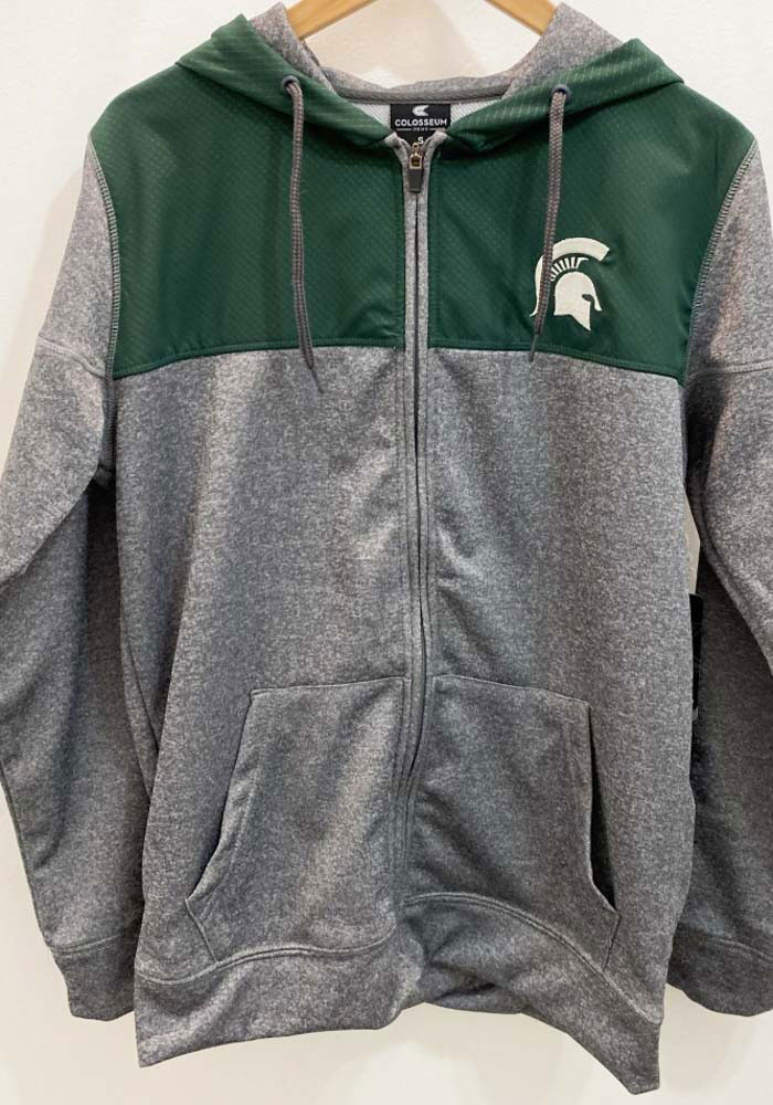Colosseum Michigan State Spartans Mens Grey Nelson Long Sleeve Zip - Image 3