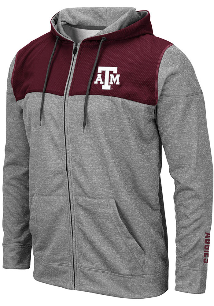 Colosseum Texas A&M Aggies Mens Grey Nelson Long Sleeve Zip - Image 1