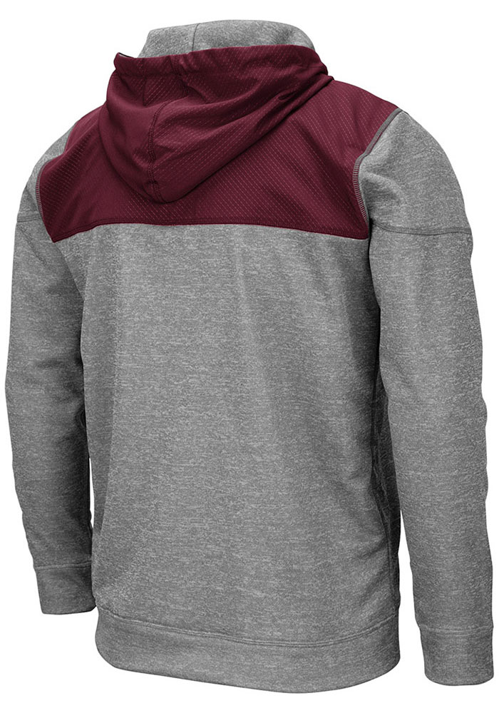 Colosseum Texas A&M Aggies Mens Grey Nelson Long Sleeve Zip - Image 2