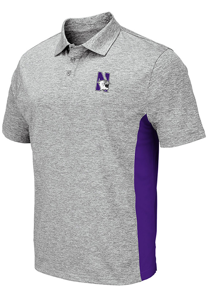Colosseum Northwestern Wildcats Mens Grey Alaska Short Sleeve Polo - Image 1