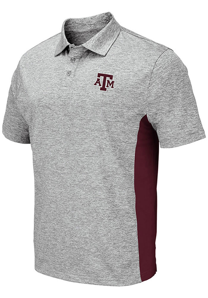 Colosseum Texas A&M Aggies Mens Grey Alaska Short Sleeve Polo - Image 1