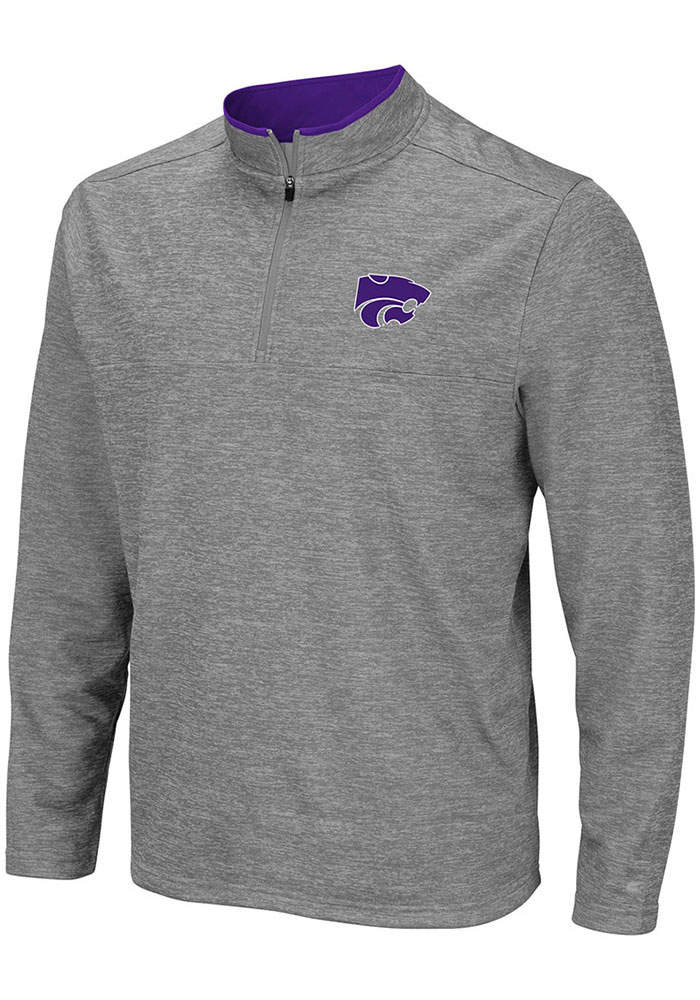 Colosseum K-State Wildcats Mens Grey Alligators are Ornery Long Sleeve 1/4 Zip Pullover - Image 1