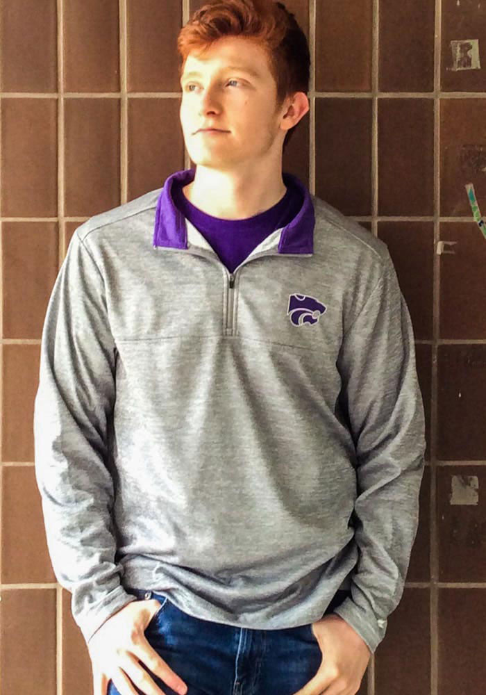 Colosseum K-State Wildcats Mens Grey Alligators are Ornery Long Sleeve 1/4 Zip Pullover - Image 3