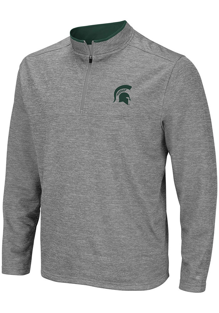 Colosseum Michigan State Spartans Mens Grey Alligators are Ornery Long Sleeve 1/4 Zip Pullover - Image 1