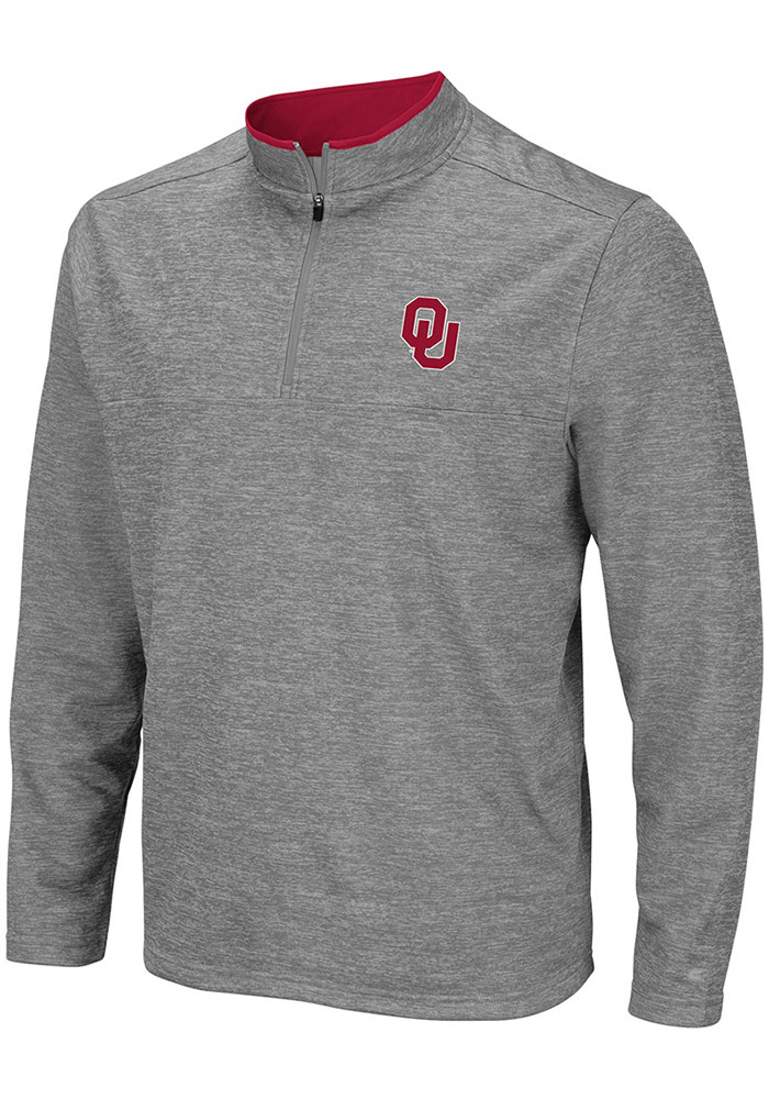 Colosseum Oklahoma Sooners Mens Grey Alligators are Ornery Long Sleeve 1/4 Zip Pullover - Image 1
