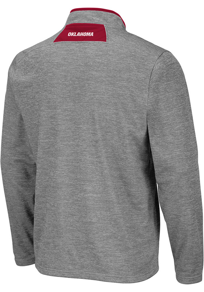 Colosseum Oklahoma Sooners Mens Grey Alligators are Ornery Long Sleeve 1/4 Zip Pullover - Image 2