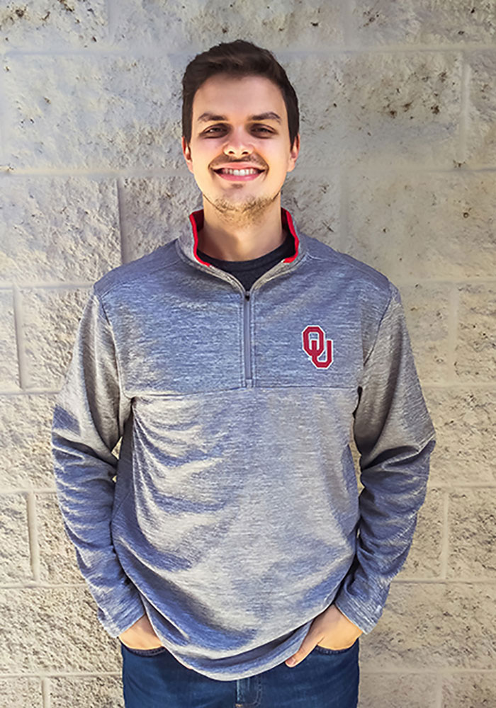 Colosseum Oklahoma Sooners Mens Grey Alligators are Ornery Long Sleeve 1/4 Zip Pullover - Image 3