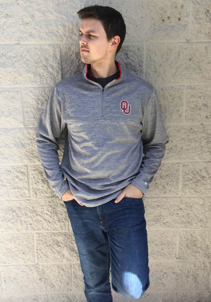 Colosseum Oklahoma Sooners Mens Grey Alligators are Ornery Long Sleeve 1/4 Zip Pullover - Image 4
