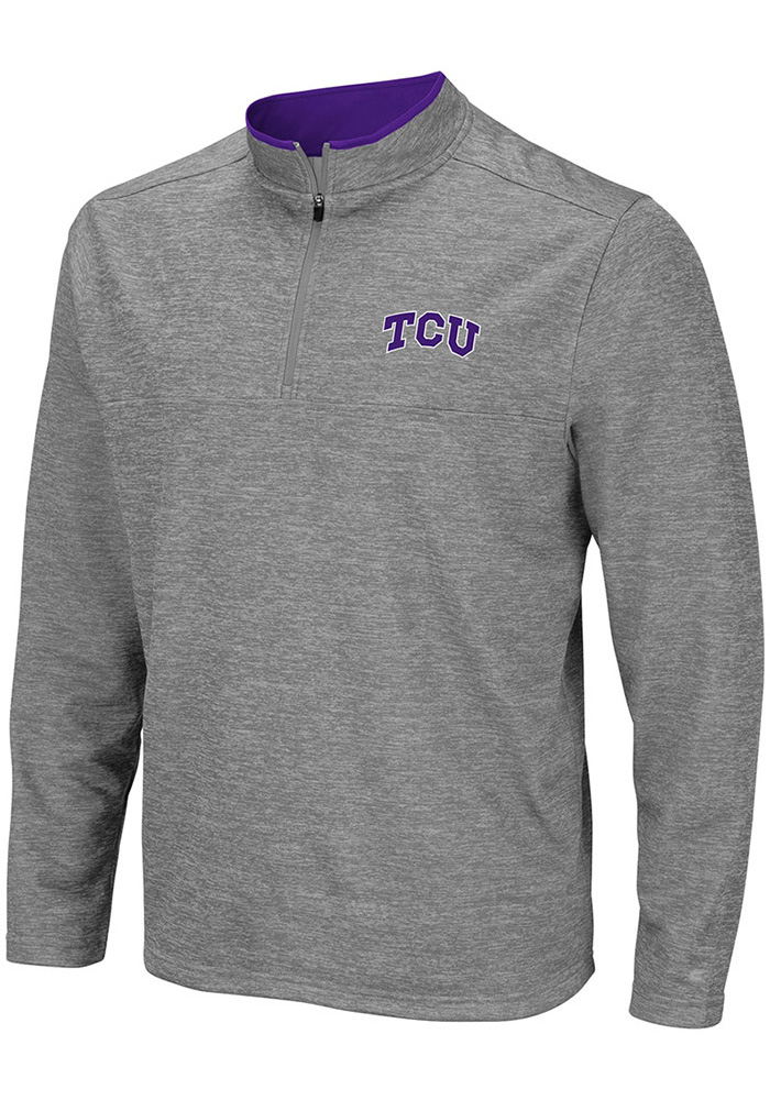 Colosseum TCU Horned Frogs Mens Grey Alligators are Ornery Long Sleeve 1/4 Zip Pullover - Image 1