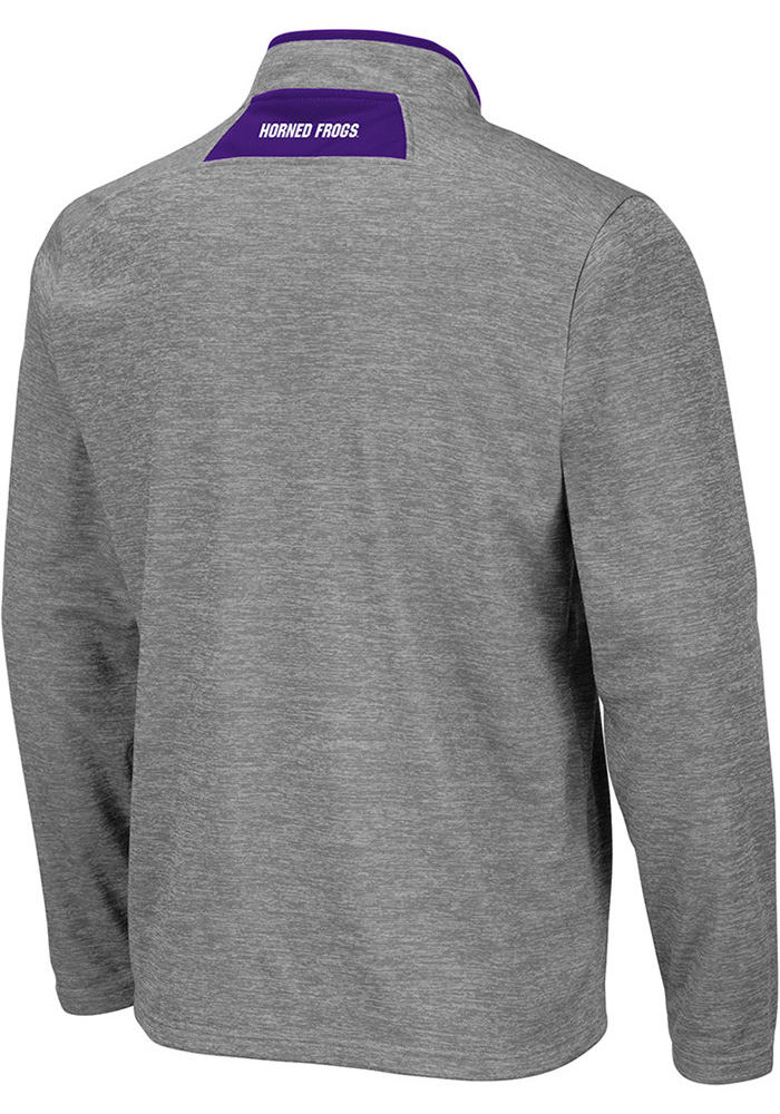 Colosseum TCU Horned Frogs Mens Grey Alligators are Ornery Long Sleeve 1/4 Zip Pullover - Image 2