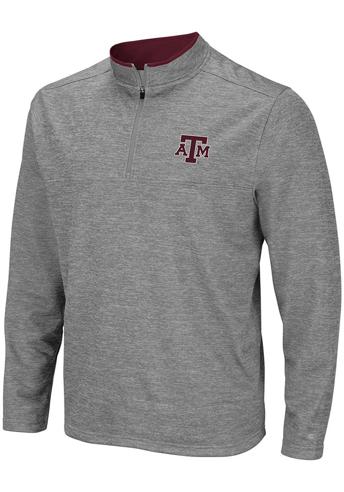 Colosseum Texas A&M Aggies Mens Grey Alligators are Ornery Long Sleeve 1/4 Zip Pullover - Image 1