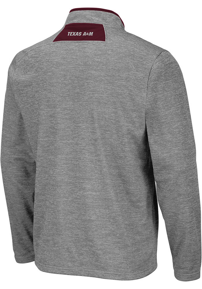 Colosseum Texas A&M Aggies Mens Grey Alligators are Ornery Long Sleeve 1/4 Zip Pullover - Image 2