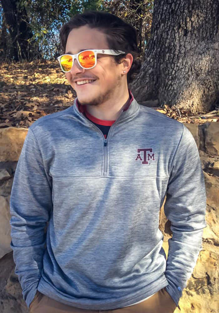 Colosseum Texas A&M Aggies Mens Grey Alligators are Ornery Long Sleeve 1/4 Zip Pullover - Image 3