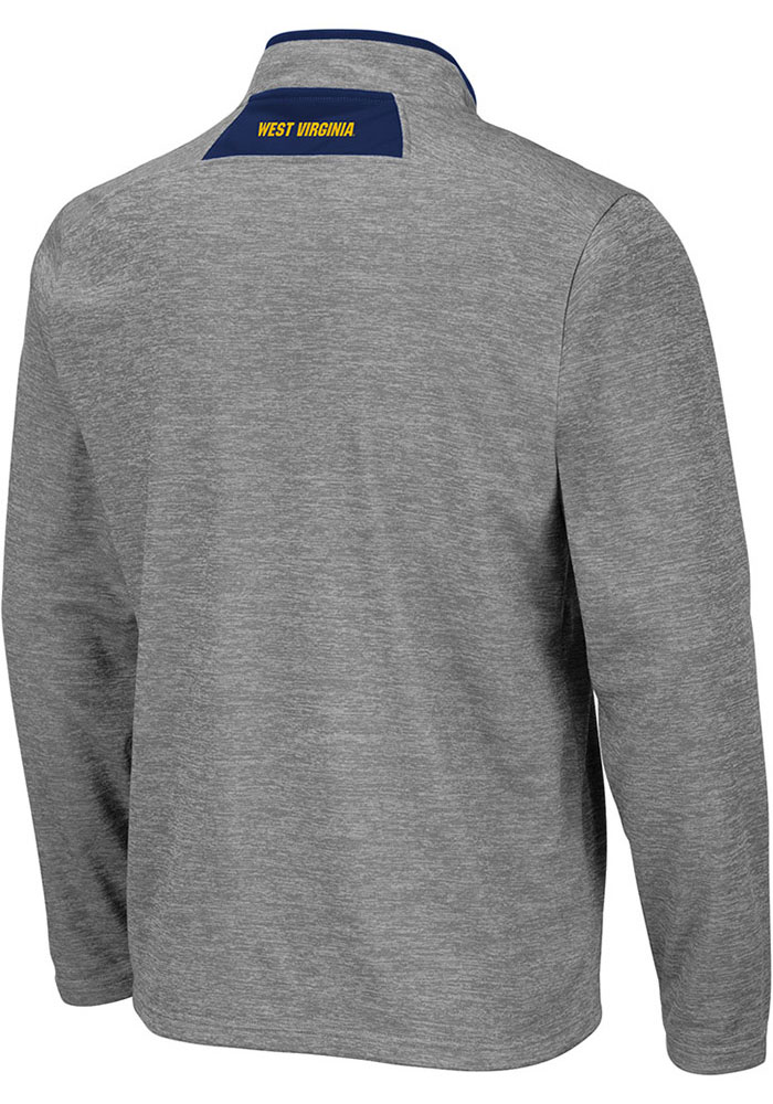 Colosseum West Virginia Mountaineers Mens Grey Alligators are Ornery Long Sleeve 1/4 Zip Pullover - Image 2