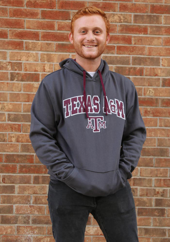 Colosseum Texas A&M Aggies Mens Grey Manning Long Sleeve Hoodie - Image 2