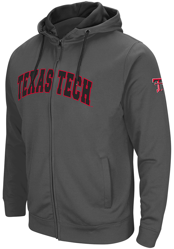 Colosseum Texas Tech Red Raiders Mens Grey Classic Long Sleeve Full Zip Jacket - Image 1