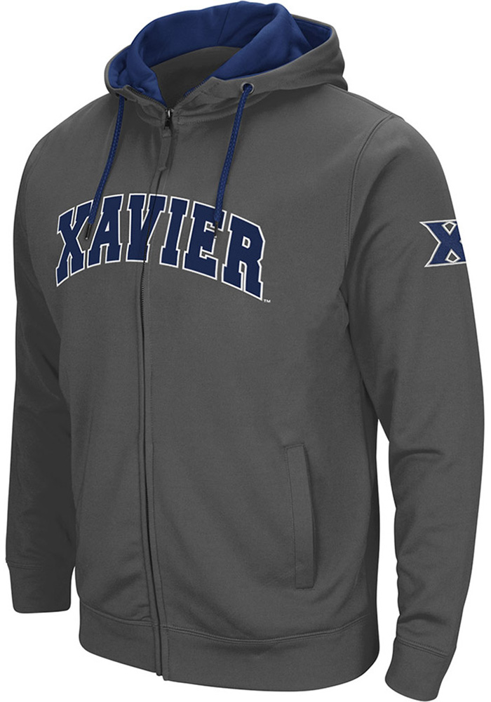 Colosseum Xavier Musketeers Mens Charcoal Classic Long Sleeve Full Zip Jacket - Image 1