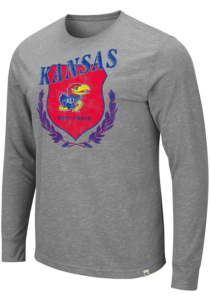 Colosseum Kansas Jayhawks Grey Simpson Long Sleeve T Shirt - Image 1