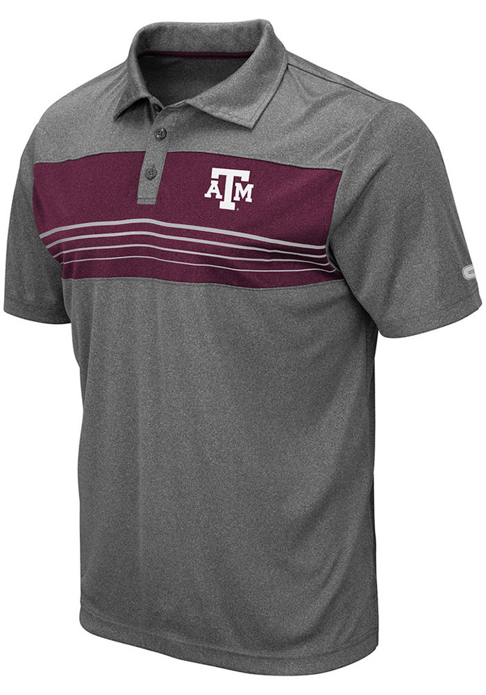 Colosseum Texas A&M Aggies Mens Grey Smithers Short Sleeve Polo - Image 1