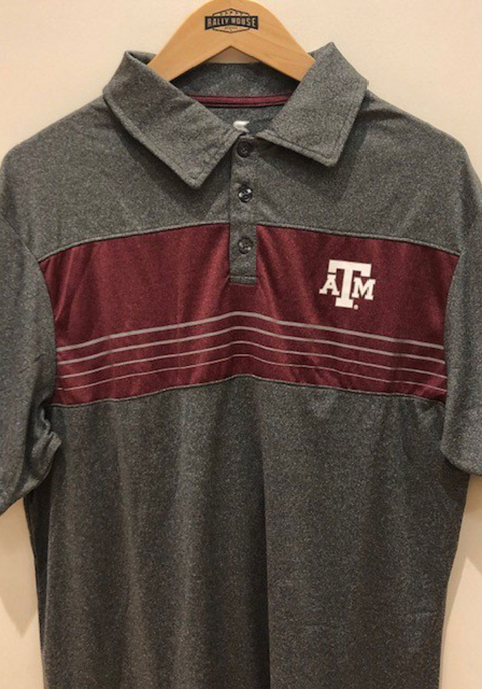 Colosseum Texas A&M Aggies Mens Grey Smithers Short Sleeve Polo - Image 3