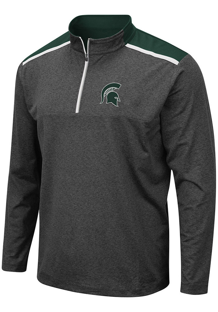 Colosseum Michigan State Spartans Mens Grey Snowball Long Sleeve 1/4 Zip Pullover - Image 1