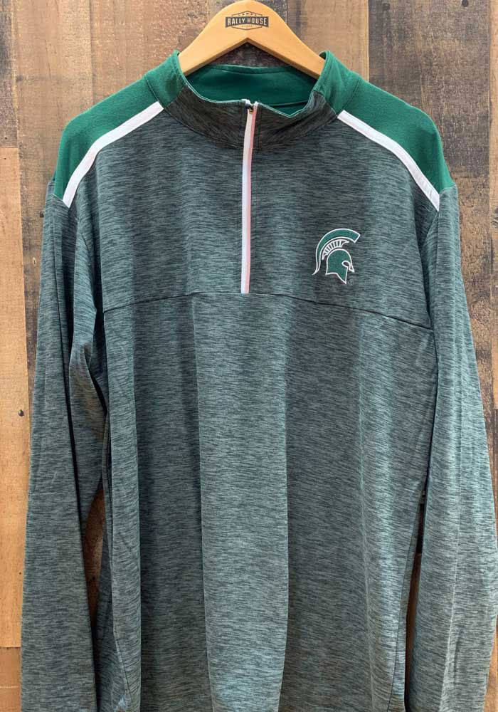 Colosseum Michigan State Spartans Mens Grey Snowball Long Sleeve 1/4 Zip Pullover - Image 3