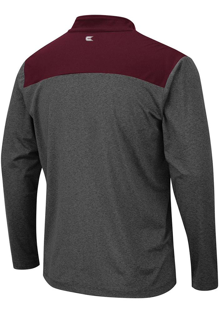 Colosseum Texas A&M Aggies Mens Grey Snowball Long Sleeve 1/4 Zip Pullover - Image 2