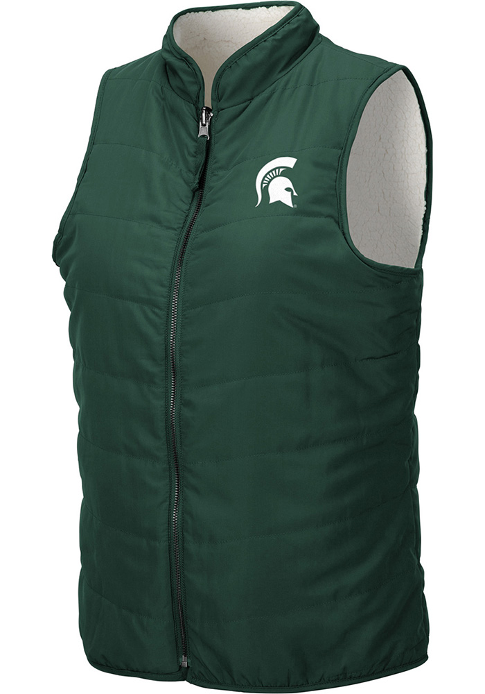 Colosseum Michigan State Spartans Womens Green Blatch Reversible Vest - Image 1