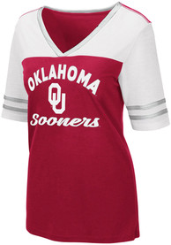 Oklahoma Sooners Womens Colosseum Samantha V Neck T-Shirt - Crimson