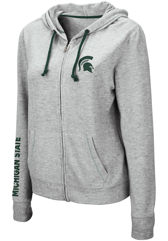 Colosseum Michigan State Spartans Womens Grey Manhattan Long Sleeve Full Zip Jacket - Image 1