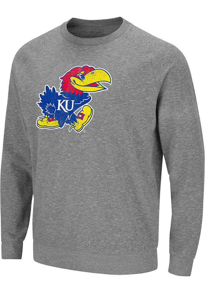 Colosseum Kansas Jayhawks Grey Henry French Terry Sweatshirt