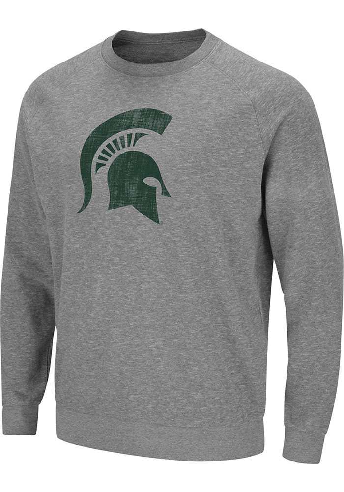 Colosseum Michigan State Spartans Mens Grey Henry French Terry Long Sleeve Crew Sweatshirt - Image 1