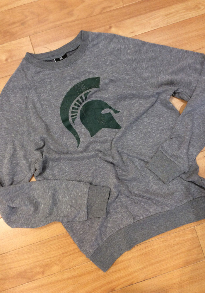 Colosseum Michigan State Spartans Mens Grey Henry French Terry Long Sleeve Crew Sweatshirt - Image 2
