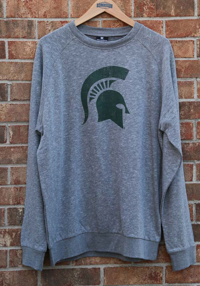 Colosseum Michigan State Spartans Mens Grey Henry French Terry Long Sleeve Crew Sweatshirt - Image 3