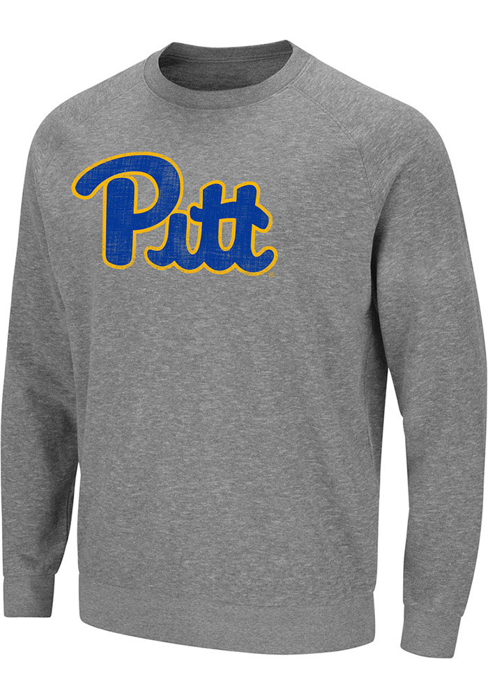 Colosseum Pitt Panthers Mens Grey Henry French Terry Long Sleeve Crew Sweatshirt - Image 1