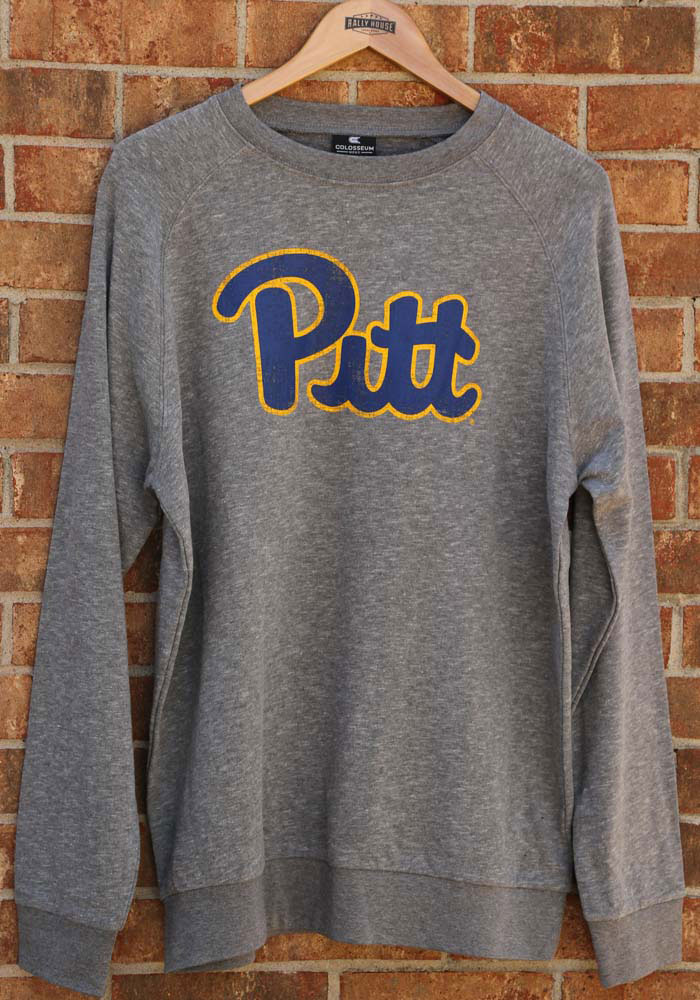 Colosseum Pitt Panthers Mens Grey Henry French Terry Long Sleeve Crew Sweatshirt - Image 3