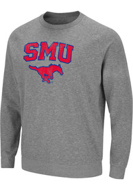 SMU Mustangs Colosseum Henry French Terry Crew Sweatshirt - Grey