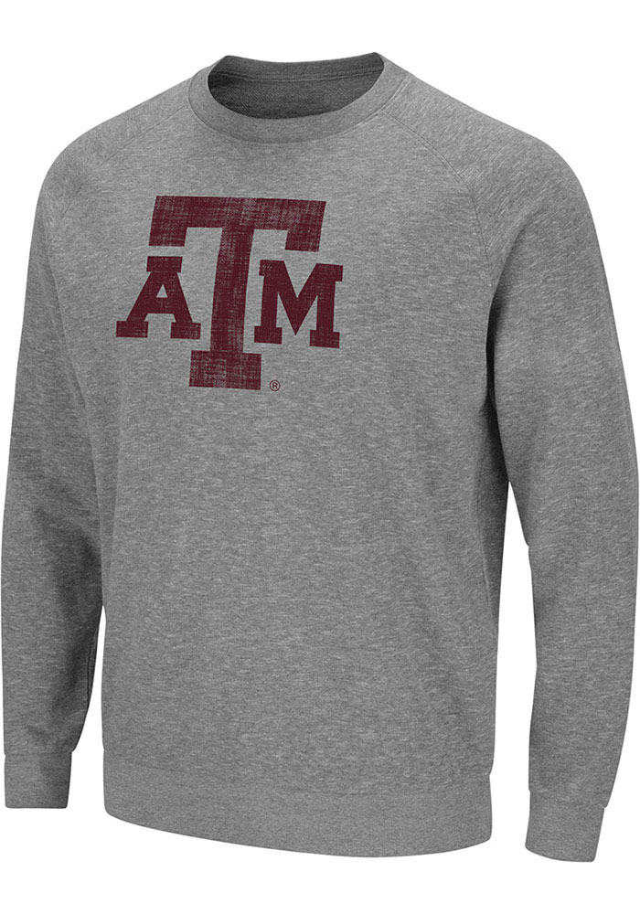 Colosseum Texas A&M Aggies Mens Grey Henry French Terry Long Sleeve Crew Sweatshirt - Image 1