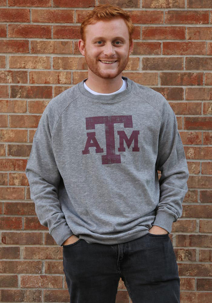 Colosseum Texas A&M Aggies Mens Grey Henry French Terry Long Sleeve Crew Sweatshirt - Image 2