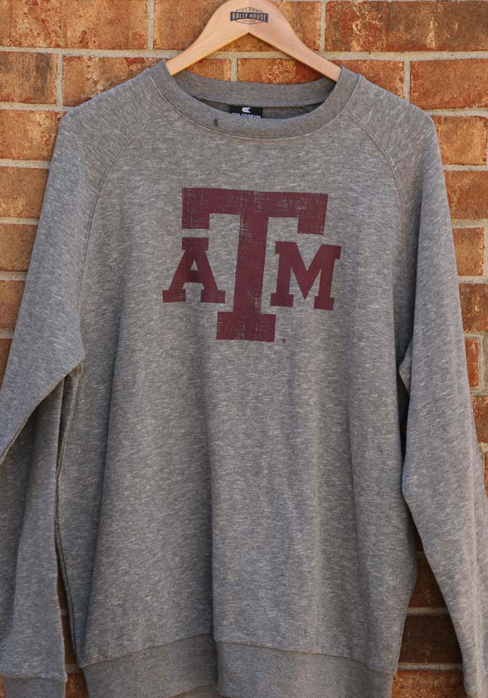 Colosseum Texas A&M Aggies Mens Grey Henry French Terry Long Sleeve Crew Sweatshirt - Image 3