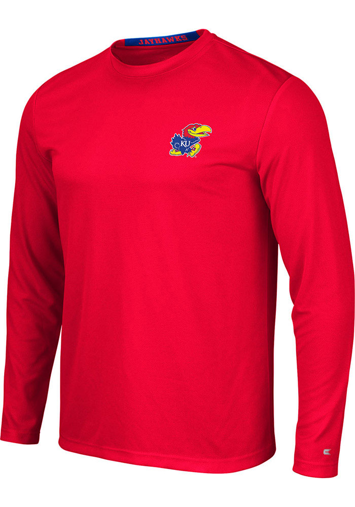 Colosseum Kansas Jayhawks Red Wade Long Sleeve T-Shirt - Image 1