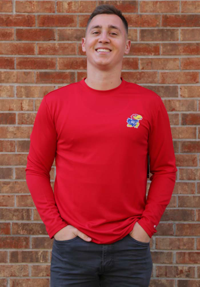 Colosseum Kansas Jayhawks Red Wade Long Sleeve T-Shirt - Image 2