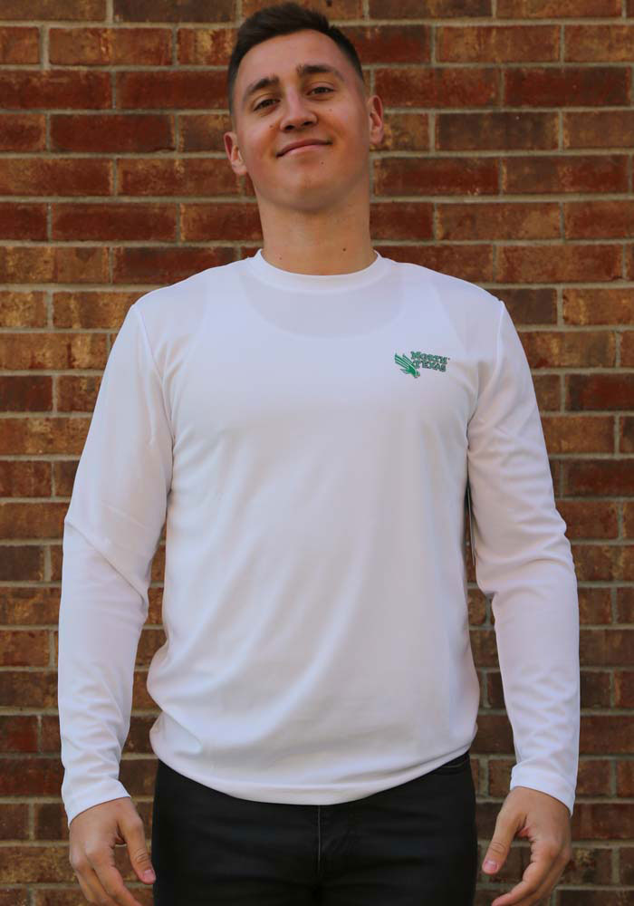 Colosseum North Texas Mean Green White Wade Long Sleeve T-Shirt - Image 2