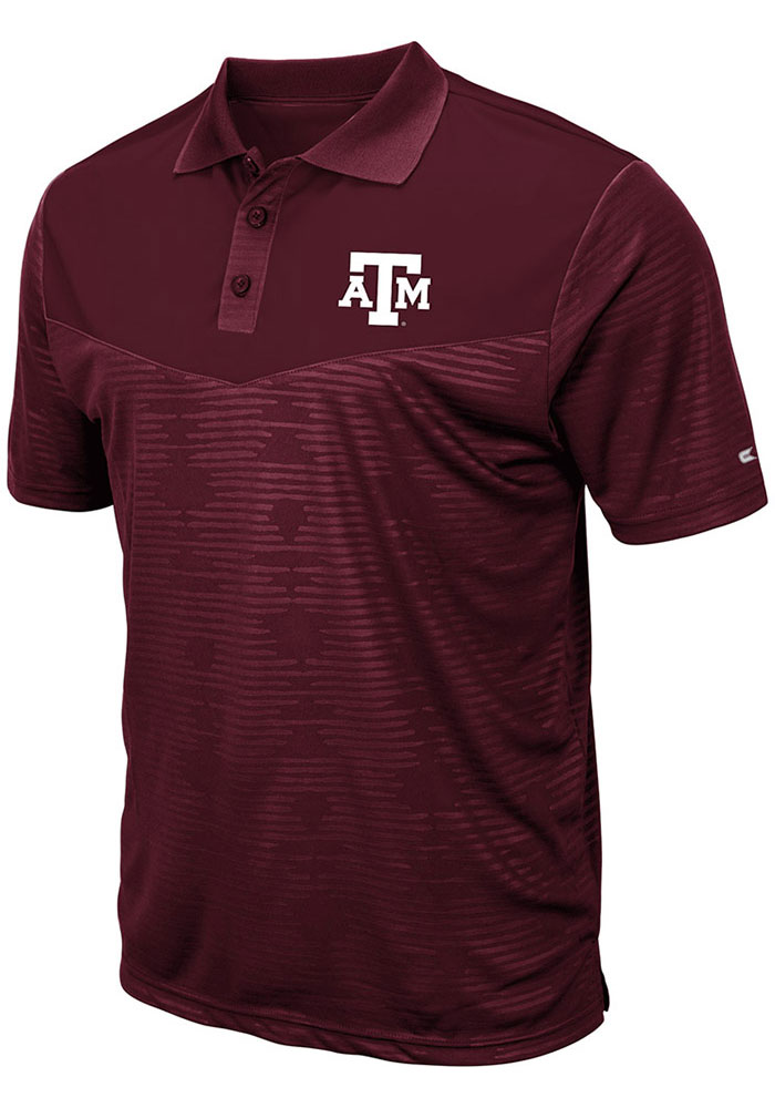 Colosseum Texas A&M Aggies Mens Maroon Finn Heathered Short Sleeve Polo - Image 1