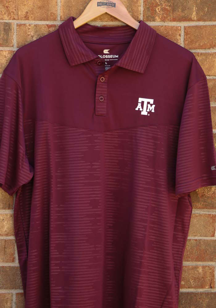 Colosseum Texas A&M Aggies Mens Maroon Finn Heathered Short Sleeve Polo - Image 3