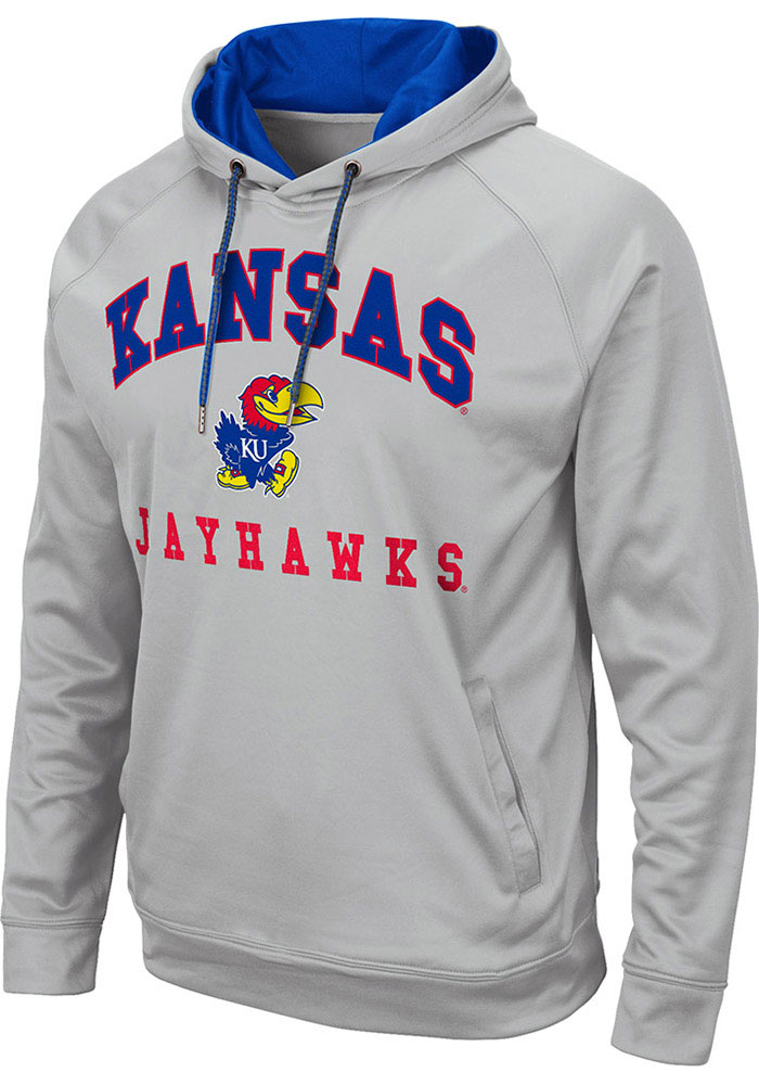 Colosseum Kansas Jayhawks Mens Grey Coach Hood - Image 1