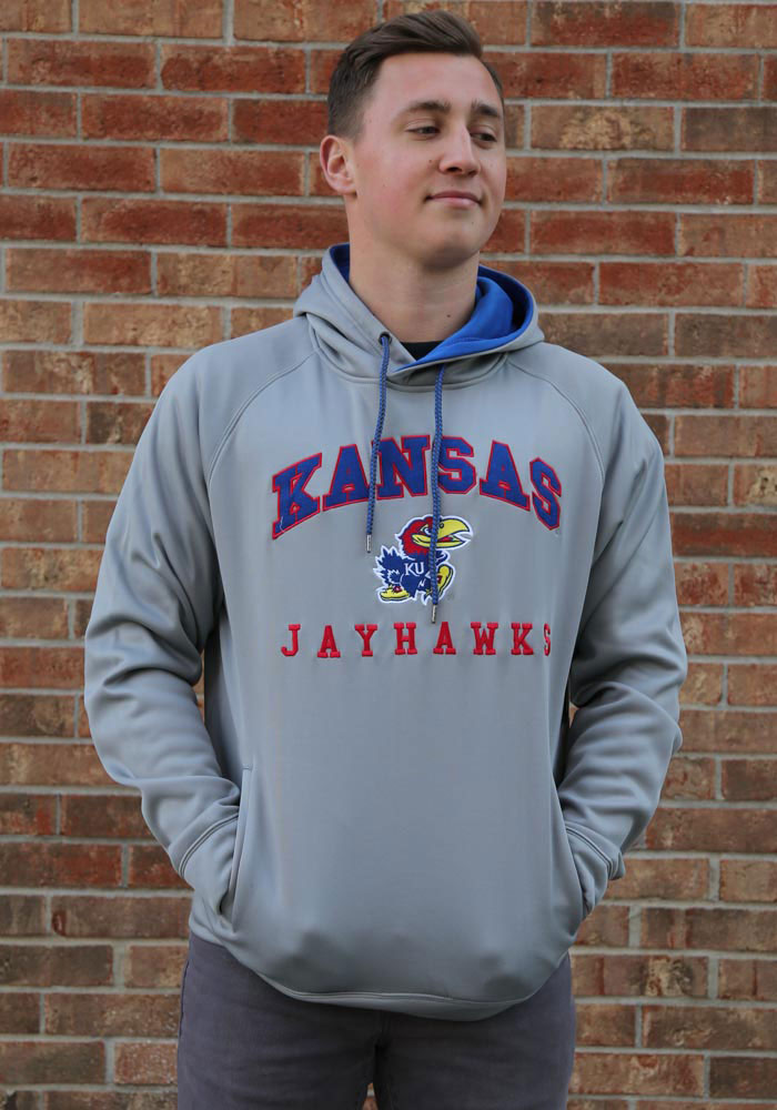 Colosseum Kansas Jayhawks Mens Grey Coach Hood - Image 2