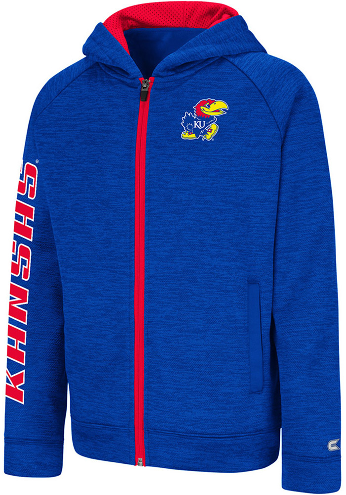 Colosseum Kansas Jayhawks Youth Blue Statler Long Sleeve Full Zip Jacket - Image 1